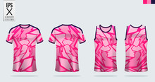 Pink T-shirt Sport Mockup Template Design For Soccer Jersey, Football Kit, Tank Top For Basketball Jersey And Running Singlet. Sport Uniform In Front View And Back View.  Vector Illustration.