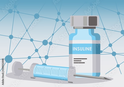 Vial with insulin hormone and single use insulin syringe Wallpaper Mural
