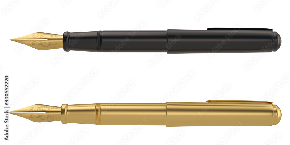 Fototapety, obrazy: Pen 3D rendering Isolated on white background. 3d illustration