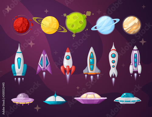 Cosmos and ufo flat vector illustrations set Wallpaper Mural