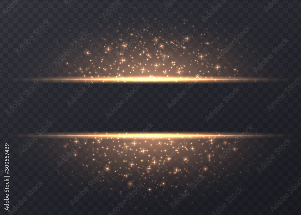 Fototapety, obrazy: Lines with stars and sparkles isolated on transparent background. Golden luminous background with dust and glares. Glowing vector light effect.