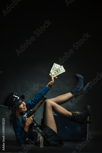 Steampunk girl with cash. Wallpaper Mural