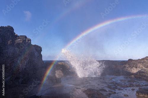 Valokuvatapetti Double rainbow over Nakalele blowhole