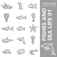 Thin Line Icon Set Of Fishes A...