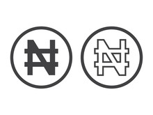 Naira Currency Sign. Symbol Of Nigerian Monetary Unit. Vector Illustration