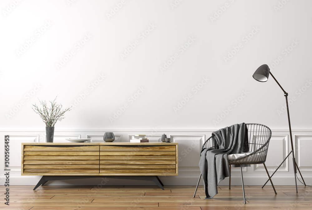 Fototapety, obrazy: Interior of living room with armchair and wooden sideboard 3d rendering