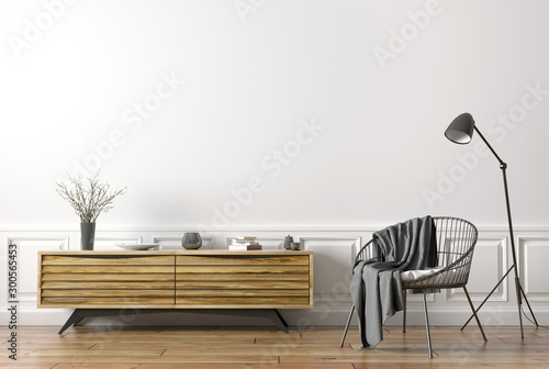 Interior of living room with armchair and wooden sideboard 3d rendering