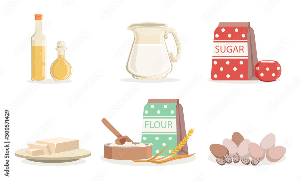 Fototapeta Ingredients For Cooking Pancakes Or Baking Vector Illustration Set Isolated On White Background