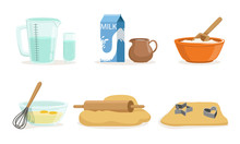 Ingredients And Cookware For Making Dough And Cookies Vector Illustration Set Isolated On White Background