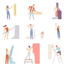 Set With People Painting The Wall Men Women And Children Flat Vector Illustration