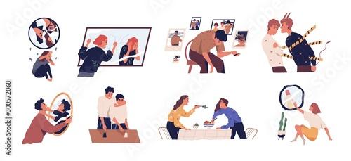 Stampa su Tela Inner conflict flat vector illustrations set