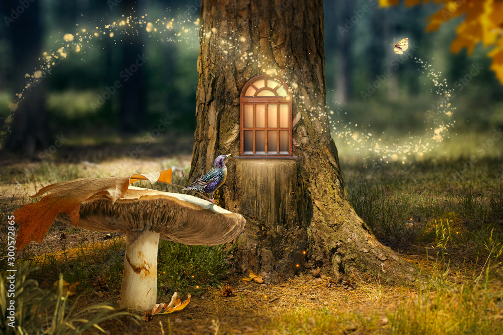 Fototapeta Enchanted fairy forest with magical shining window in hollow tree, large mushroom with bird and flying magic butterfly leaving path with luminous sparkles