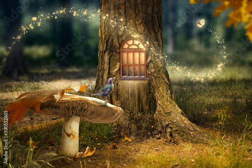 Photo Enchanted fairy forest with magical shining window in hollow tree, large mushroo