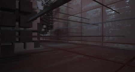 Abstract architectural concrete and rusted metal interior of cubeswith white background . 3D illustration and rendering.
