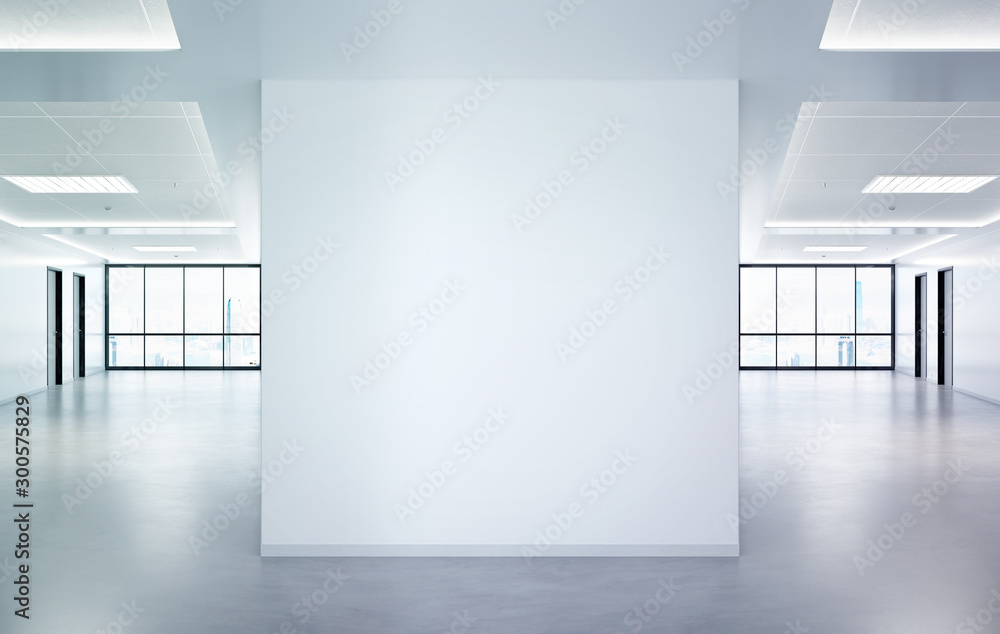 Fototapety, obrazy: Blank squared wall in office mockup with large windows and sun passing through 3D rendering