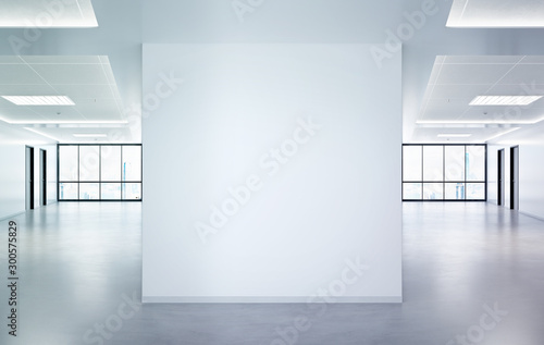 Photo Stands Amsterdam Blank squared wall in office mockup with large windows and sun passing through 3D rendering