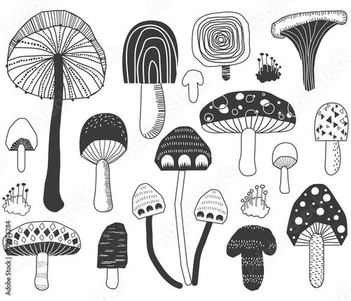 Mushroom Doodle Set Wallpaper Mural