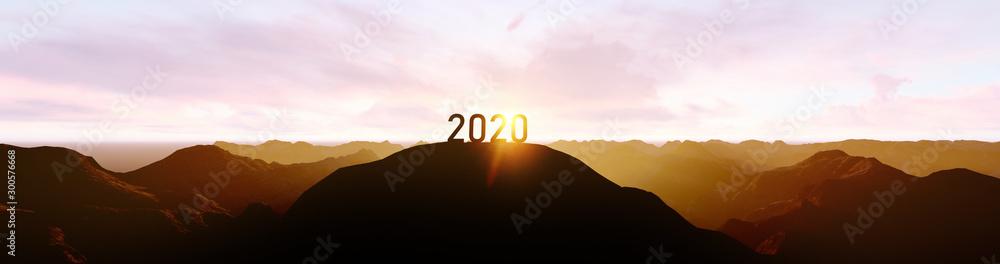 Fototapeta 2020 silhouette on the mountain