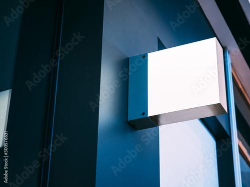 Fotografía  Mock up Signage Blank shop sign Square shape Exterior modern Building