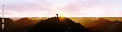 Fototapeta 2020 silhouette on the mountain obraz