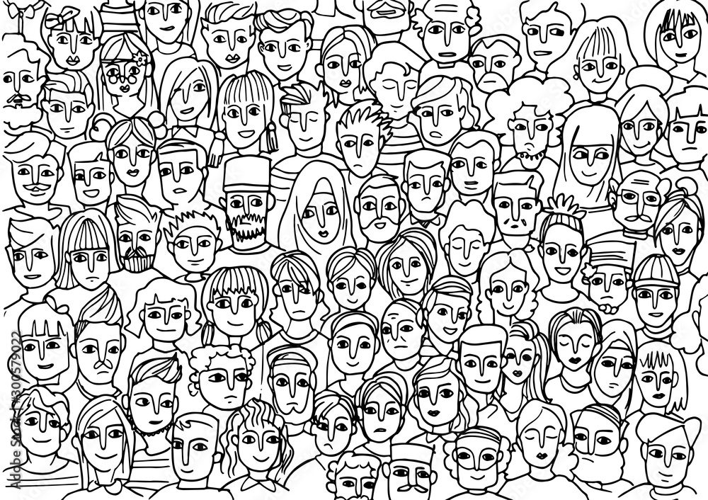 Fototapeta faces of people -seamless pattern of hand drawn faces of various ethnicities