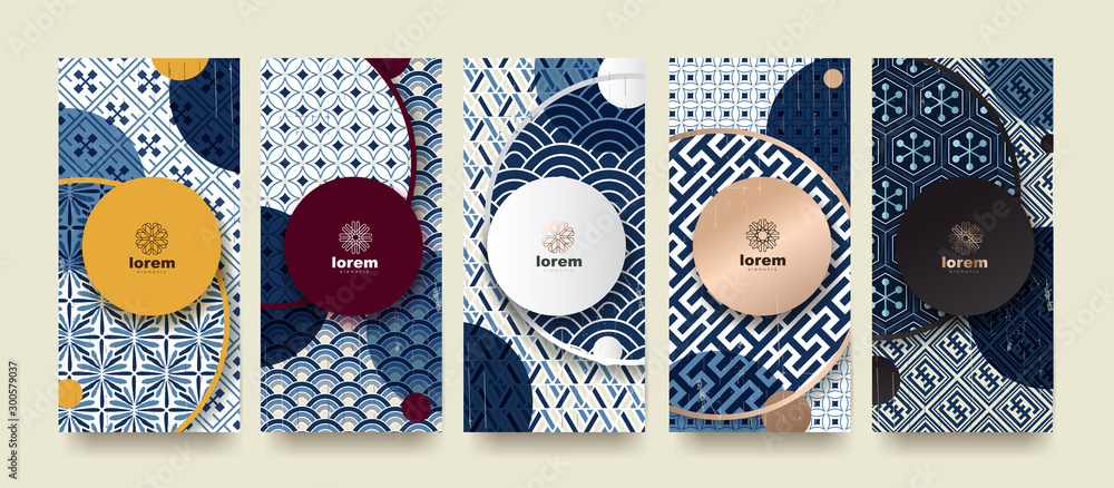 Fototapety, obrazy: Vector set packaging templates japanese of nature luxury or premium products.logo design with trendy linear style.voucher, flyer, brochure.Menu book cover japan style vector illustration.
