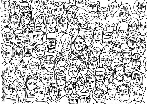 Türaufkleber Künstlich faces of people -seamless pattern of hand drawn faces of various ethnicities