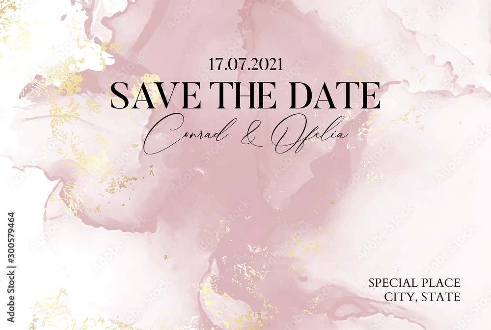 Fototapeta Hand-drawn marble texture in soft pink colors with watercolor fluid ink and golden foil glitter. Chic business cover, Save the Date card
