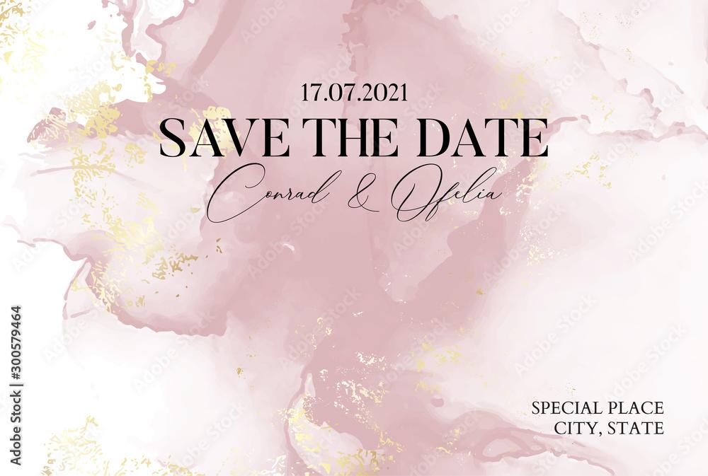 Ręcznie rysowana marmurowa konsystencja w delikatnych różowych kolorach z akwarelowym płynnym atramentem i złotym brokatem z folii. Elegancka biznesowa okładka, karta Save the Date <span>plik: #300579464 | autor: milatoo</span>