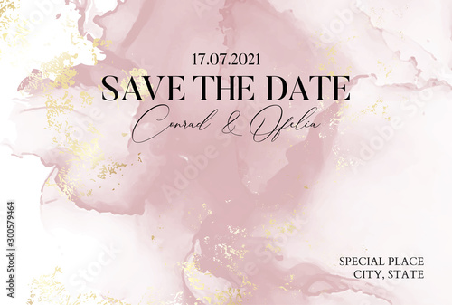 Hand-drawn marble texture in soft pink colors with watercolor fluid ink and golden foil glitter. Chic business cover, Save the Date card
