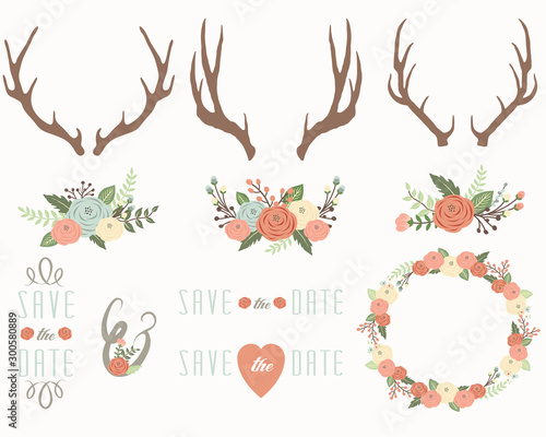 Floral Antlers Elements Canvas Print