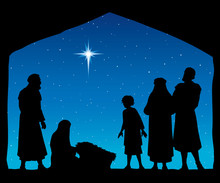 The Shepherds Came To Bow To The Newborn Baby Jesus. Vector Drawing