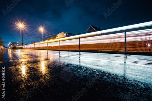 Fotografie, Tablou  Train arriving in station. Longexposure
