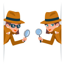 Detective Female Snoop Magnifying Glass Tec Peeking Out Corner Search Help Noir Cute Character Cartoon Design Isolated Vector Illustration