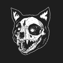 Skull Cat Cute Illustration Ve...