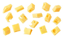 Hard Cheese Cubes Fall Isolated On White Background