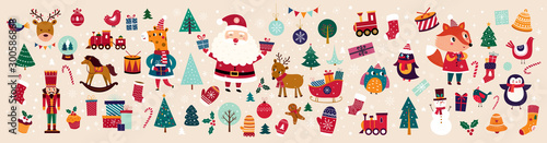 Christmas decorative banner with funny Santa Claus, nutcracker, locomotive and gift boxes and many others.