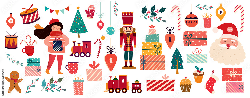 Fototapeta Christmas decorative banner with Santa Claus, nutcracker, locomotive, girls, gingerbread and gift boxes in vintage style