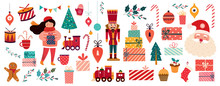 Christmas Decorative Banner With Santa Claus, Nutcracker, Locomotive, Girls, Gingerbread And Gift Boxes In Vintage Style
