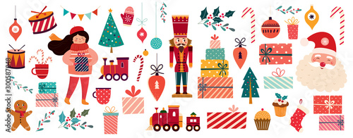 Cuadros en Lienzo Christmas decorative banner with Santa Claus, nutcracker, locomotive, girls, gin
