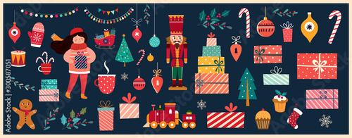 Fotografía  Christmas decorative banner with Santa Claus, nutcracker, locomotive, girls, gin
