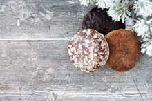 German Gingerbread, Lebkuchen On Rustic Brown Wood