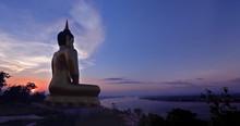 The Big Golden Buddha Statue Of Phu Salao Temple At Pakse, Laos