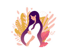 Flat Silhouette Of A Pregnant Woman In A White Dress On A Background Of Leaves. Happy Mom. Concept For Mother S Day, Medicine, Health, Family. Cartoon Character For Postcard, Banner. Stock Vector Illu
