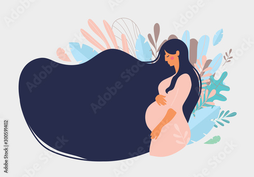 Obraz Cute pregnant woman with long hair on a background of blue leaves. The concept of pregnancy, motherhood, family. Flat design with copy space.  Stock vector isolated on white background - fototapety do salonu