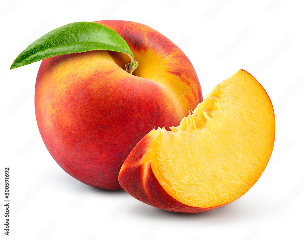 Fototapeta Peach isolate. Peach slice. Peach with leaf on white background. Full depth of field. With clipping path.