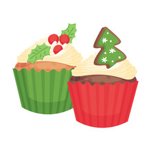 Two New Years Cupcakes. Vector...