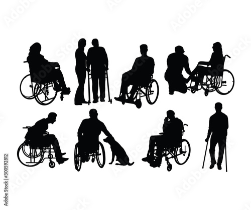 Cuadros en Lienzo Handicapped and wheelchair Silhouettes, art vector design