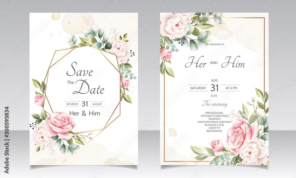 Fototapeta beautiful floral wreath wedding invitation card template