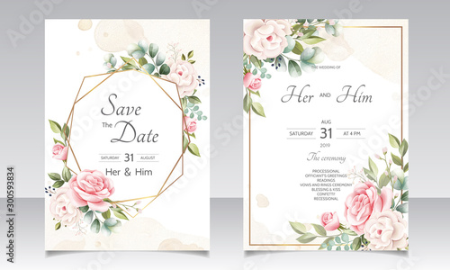 Fototapeta beautiful floral wreath wedding invitation card template obraz